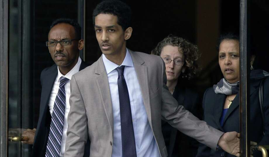 Robel Phillipos, a friend of Boston Marathon bombing suspect Dzhokhar Tsarnaev, leaves the federal court after a hearing in Boston. Phillipos is charged with lying to investigators. Photo: Stephan Savoia / Associated Press / AP