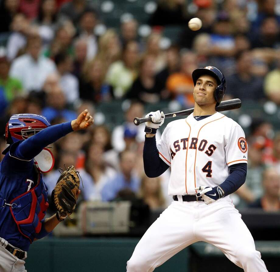 May 13: Astros 8, Rangers 0  George Springer reacts during an at-bat. Photo: Karen Warren, Houston Chronicle