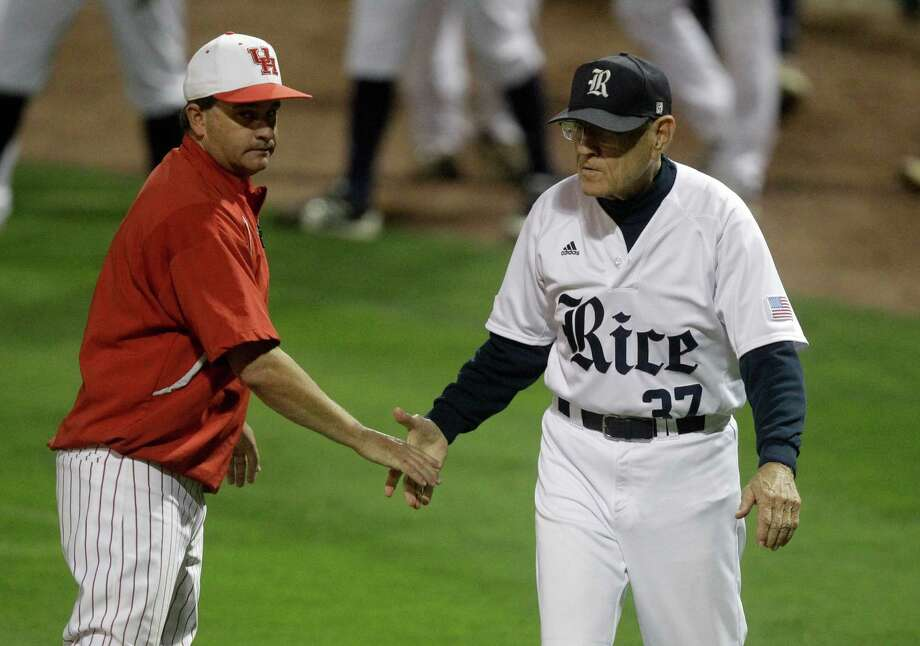 University of Houston head coach Todd Whitting and Rice head coach Wayne Graham shake hands after Houston's 7-3 victory during an NCAA baseball game at Constellation Field on Tuesday, May 13, 2014, in Sugar Land. Photo: J. Patric Schneider, For The Chronicle / © 2014 Houston Chronicle