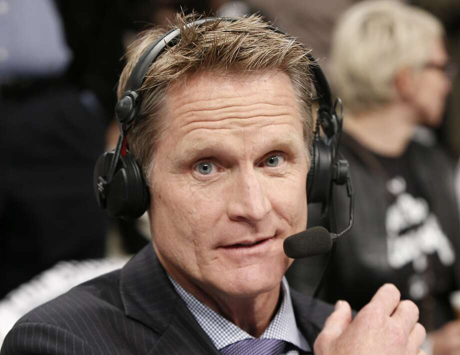 TNT commentator and former Chicago Bulls and San Antonio Spurs guard Steve Kerr broadcasts courtside for Game 4 of an NBA basketball first-round playoff series between the Toronto Raptors and the Brooklyn Nets, Sunday, April 27, 2014, in New York. Kerr said Sunday he spoke with New York Knicks President Phil Jackson twice over the weekend and that they will continue discussing his potential of becoming coach of the team. (AP Photo/Kathy Willens) Photo: Kathy Willens, Associated Press