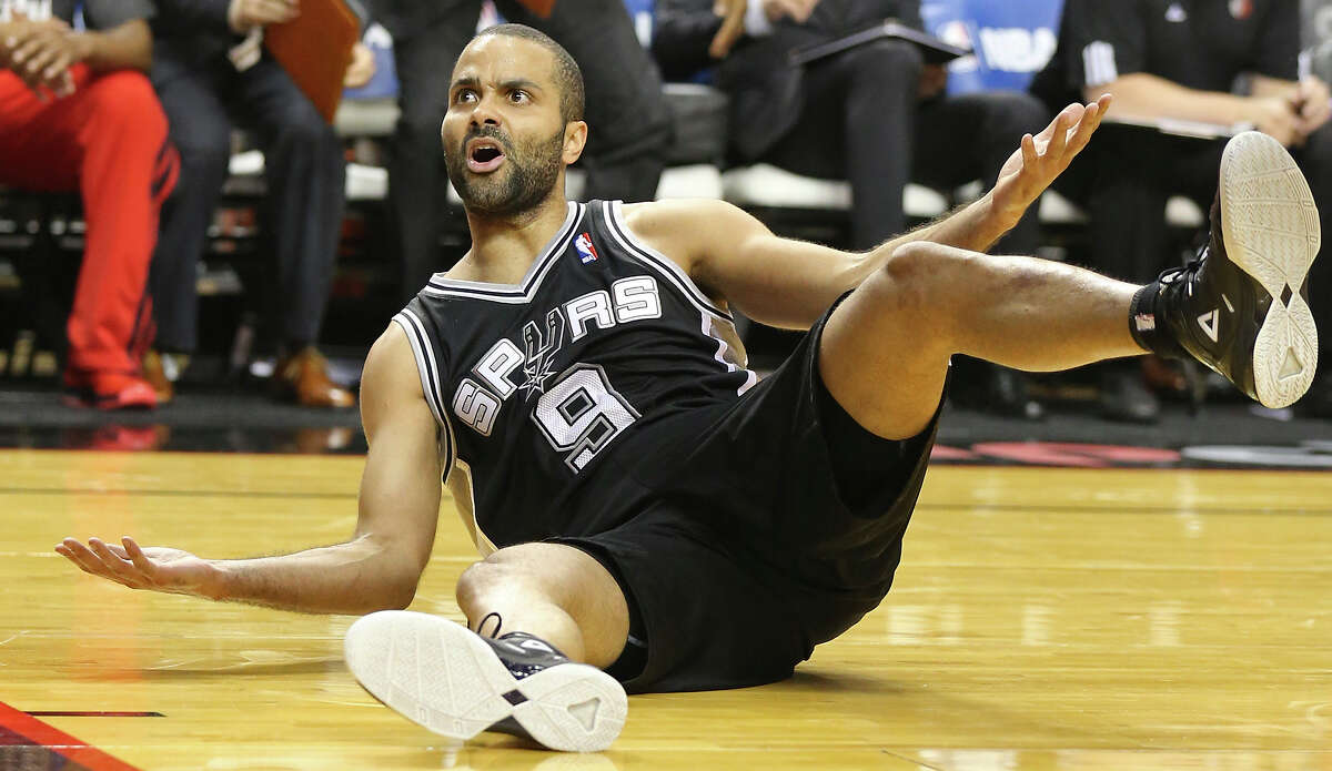 San Antonio Spurs' Tony Parker reacts after being fouled by Portland Trail Blazers' Will Barton during first half action of Game 4 in the Western Conference semifinals Monday May 12, 2014 at the Moda Center in Portland, OR.