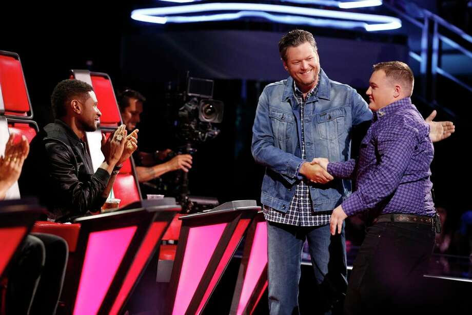 "THE VOICE -- ""Live Show"" Episode 617B -- Pictured: (l-r) Usher, Blake Shelton, Jake Worthington -- (Photo by: Trae Patton/NBC) Photo: Trae Patton/NBC / 2014 NBCUniversal Media, LLC"
