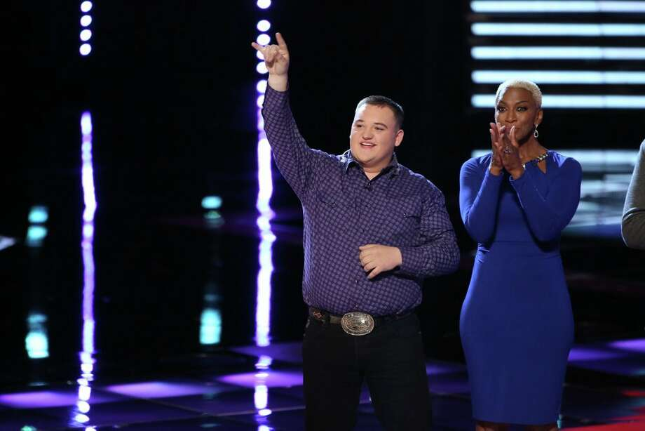 "THE VOICE -- ""Live Show"" Episode 617B -- Pictured: (l-r) Jake Worthington, Sisaundra Lewis -- (Photo by: Tyler Golden/NBC) Photo: NBC, Tyler Golden/NBC / 2014 NBCUniversal Media, LLC"