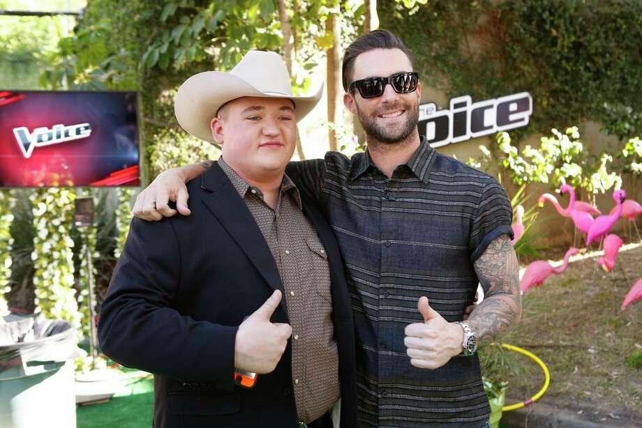 "THE VOICE -- ""Live Show"" Episode 618A -- Pictured: (l-r) Jake Worthington, Adam Levine -- (Photo by: Trae Patton/NBC) Photo: Trae Patton/NBC / 2014 NBCUniversal Media, LLC"