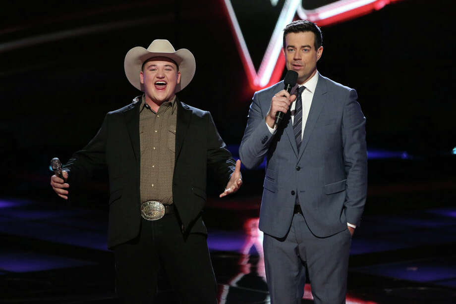 "THE VOICE -- ""Live Show"" Episode 618A -- Pictured: (l-r) Jake Worthington, Carson Daly -- (Photo by: Tyler Golden/NBC) Photo: NBC, Tyler Golden/NBC / 2014 NBCUniversal Media, LLC"