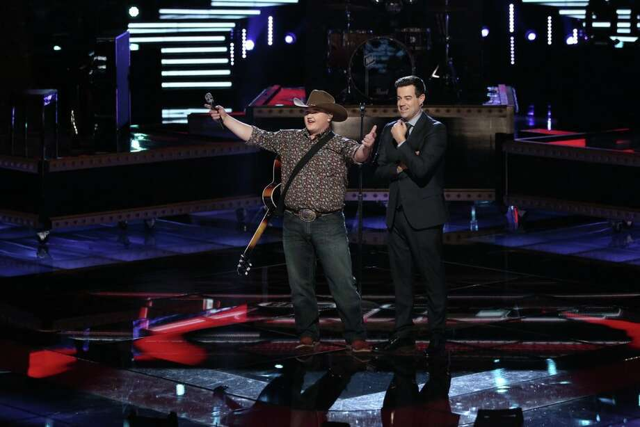 "THE VOICE -- ""Live Show"" Episode 620A -- Pictured: (l-r) Jake Worthington, Carson Daly -- (Photo by: Tyler Golden/NBC) Photo: NBC, Tyler Golden/NBC / 2014 NBCUniversal Media, LLC"