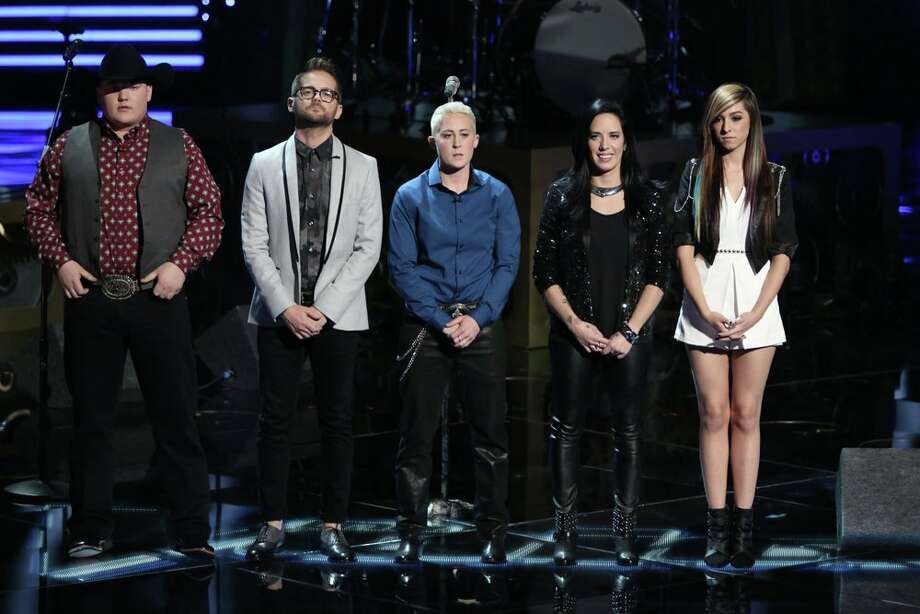 "THE VOICE -- ""Live Show"" Episode 620B -- Pictured: (l-r) Jake Worthington, Josh Kaufman, Kristen Merlin, Kat Perkins, Christina Grimmie -- (Photo by: Tyler Golden/NBC) Photo: NBC, Tyler Golden/NBC / 2014 NBCUniversal Media, LLC"
