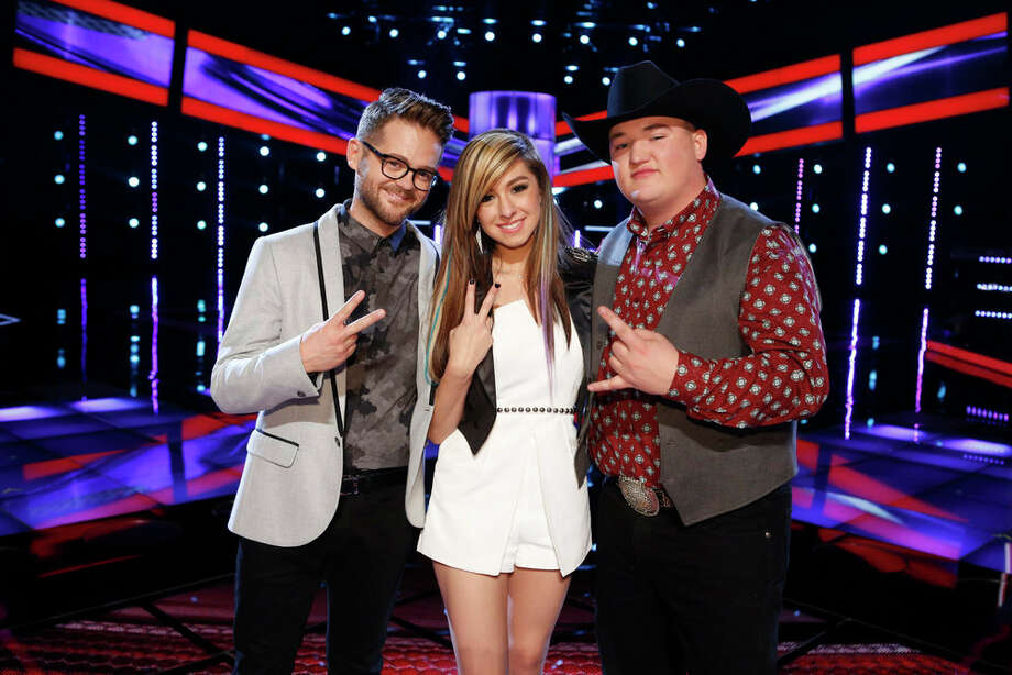 "THE VOICE -- ""Live Show"" Episode 620B -- Pictured: (l-r) Josh Kaufman, Christina Grimmie, Jake Worthington -- (Photo by: Trae Patton/NBC) Photo: Trae Patton/NBC / 2014 NBCUniversal Media, LLC"