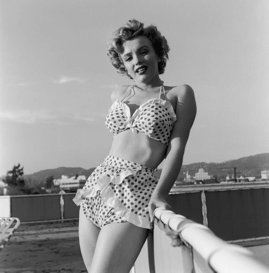 Marilyn Monroe (1926 - 1962) wearing a polka dot bikini, circa 1951. Photo: Archive Photos, Getty Images