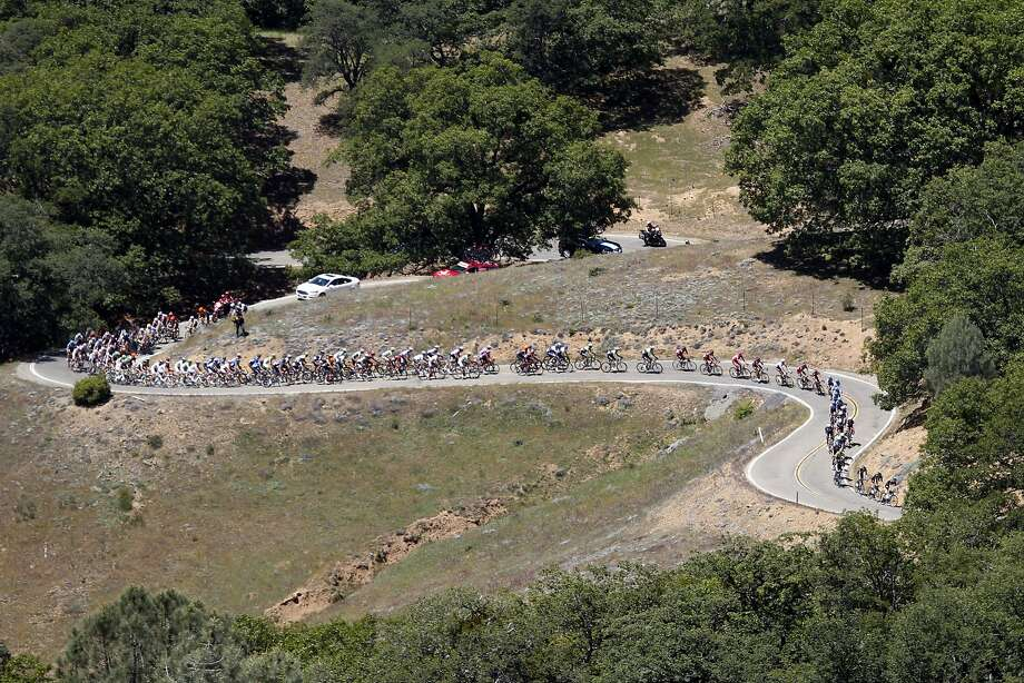 Riders wind their way to the top of Mount Hamilton during stage 3 of the Tour of California cycling race on Tuesday, May 13, 2014, in San Jose. Photo: Thomas Mendoza, Associated Press