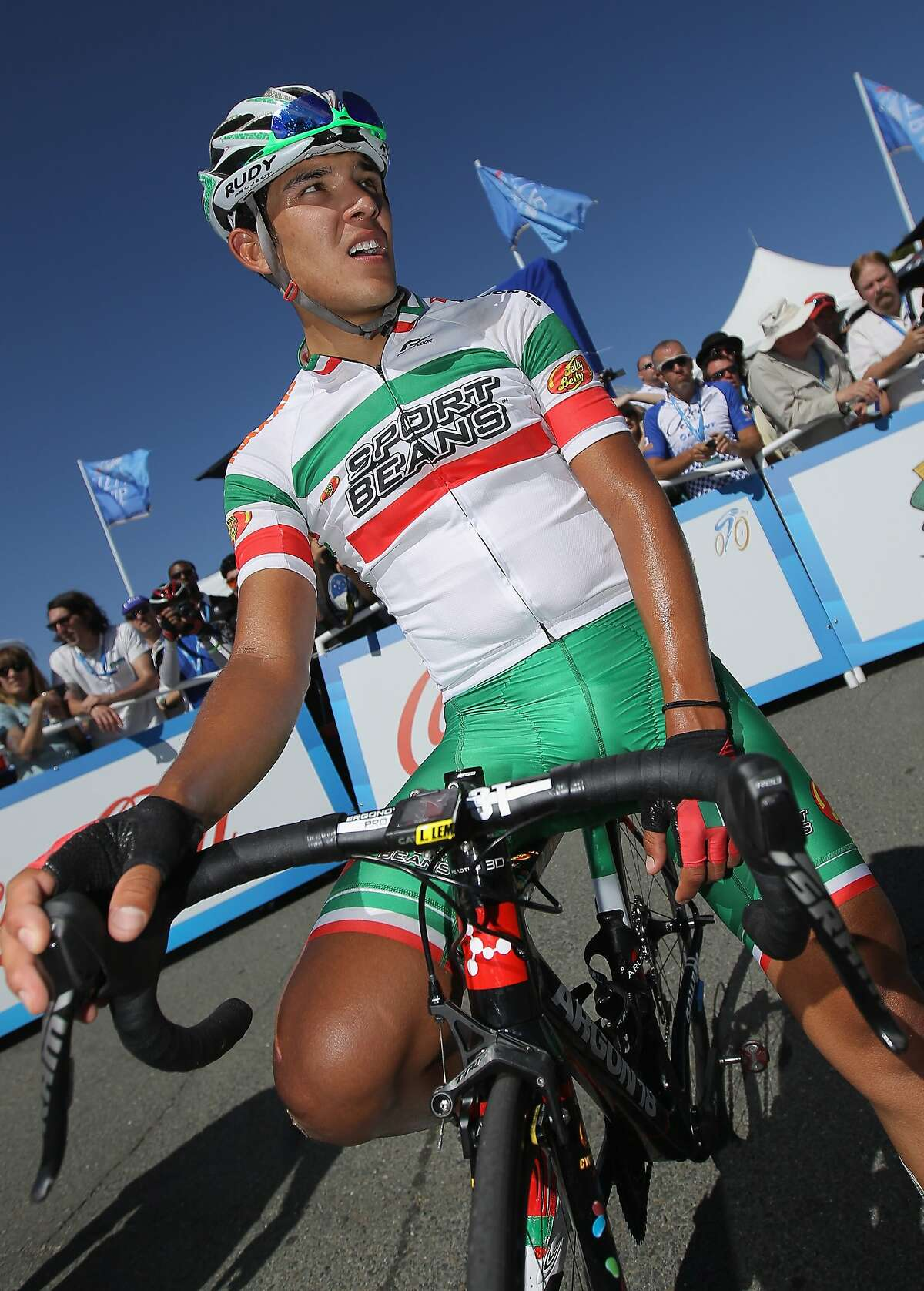 Luis Lemus of Mexico riding for Jelly Belly p/b Maxxis collects himself after finishing 22nd and being awarded the most courageous rider jersey in stage three of the 2014 Amgen Tour of California from San Jose to Mount Diablo on May 13, 2014 in Clayton, California.