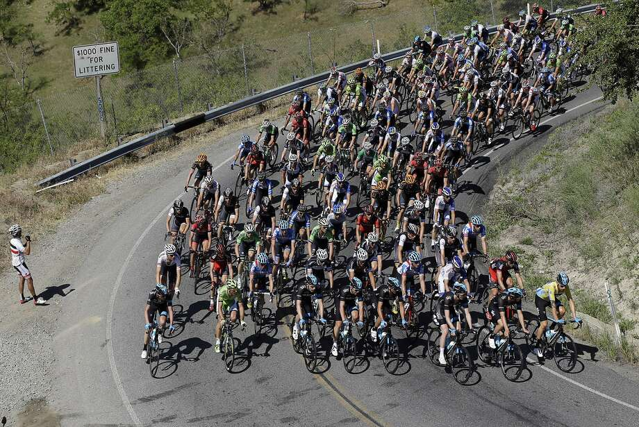Riders begin the climb on Mt. Hamilton during stage 3 of the Tour of California cycling race on Tuesday, May 13, 2014, in San Jose. Photo: Marcio Jose Sanchez, Associated Press