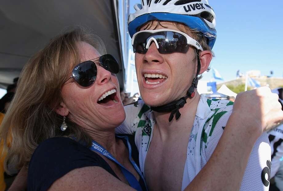 Lawson Craddock of the USA riding for Team Giant-Shimano celebrates his third place finish in stage three with his mom Ellen Craddock as he defended the best young rider's jersey in the the 2014 Amgen Tour of California from San Jose to Mount Diablo on May 13, 2014 in Clayton. Photo: Doug Pensinger, Getty Images