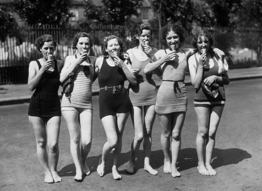Click through the gallery to see how bathing suits have evolved over the decades. Photo: Topical Press Agency, Getty Images