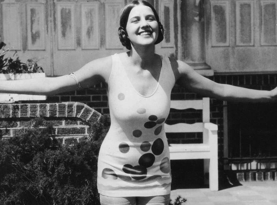 Miss America Norma Smallwood, from Tulsa, Oklahoma, smiles while posing outdoors in a polka-dotted swimsuit. circa 1926. Photo: Hulton Archive, Getty Images