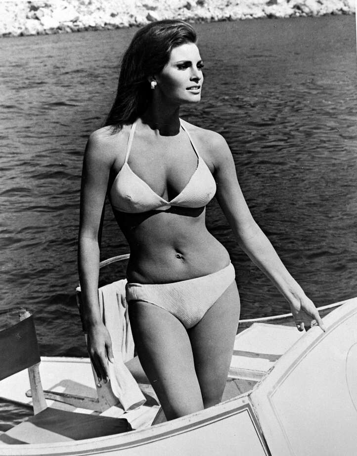 "Actress Raquel Welch, who perhaps more than any other star was the ""sex symbol"" of the 1960s, in a bikini. Photo: Popperfoto, Popperfoto/Getty Images"