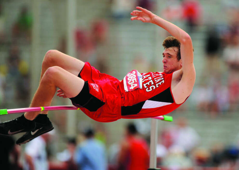 Valentine's Latham Garnsey competes in the Class A Division II high jump at the 2014 UIL state track and field meet on May 9. Garnsey, a junior, finished third with a leap of 5 feet, 10 inches. Photo: Thomas Metthe, Abilene Reporter-News
