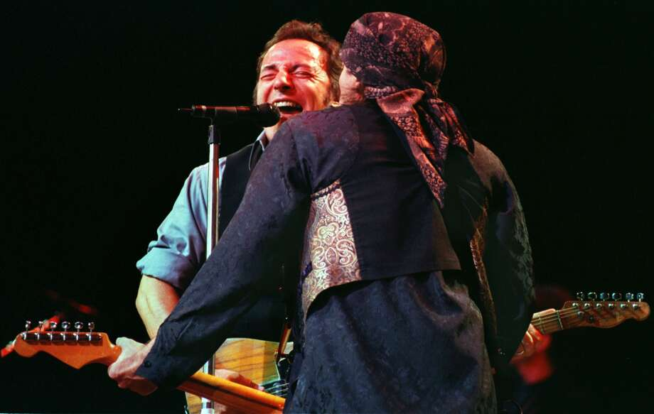 Times Union staff photograph by Philip Kamrass -- Bruce Springsteen faces Little Stevie (Van Zandt) while  playing together onstage with the E Street Band at the Pepsi Arena in Albany Sunday night, November 21, 1999. Photo: PHILIP KAMRASS, DG / ALBANY TIMES UNION