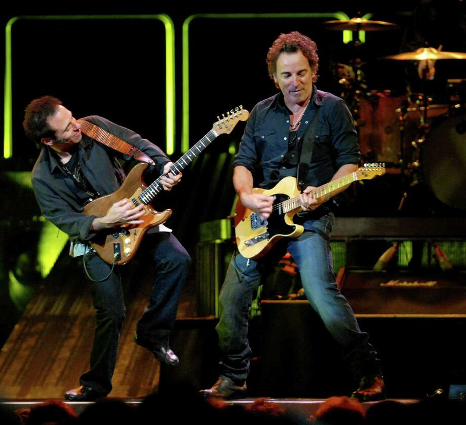 Times Union staff photo by Cindy Schultz -- Bruce Springsteen, right, trades licks with Nils Lofgren, left, during a sell-out performance with the E Street Band on Thursday, Nov. 15, 2007, at the Times Union Center in Albany, N.Y. (WITH SEILER REVIEW) Photo: CINDY SCHULTZ, DG / ALBANY TIMES UNION