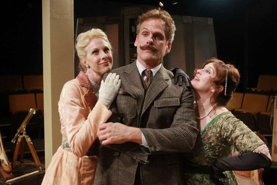 """(For the Chronicle/Gary Fountain, April 27, 2014) Elizabeth Marshall Black as Lady Utterword, from left, Joe Kirkendall as Hector Hushabye, and Celeste Roberts as Hesione Hushabye, in Main Street Theater's staging of the George Bernard Shaw classic """"Heartbreak House."""" Photo: Gary Fountain, Freelance / Copyright 2014 by Gary Fountain"""