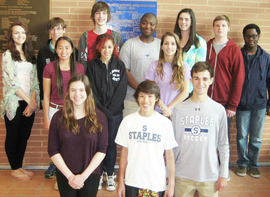 STUDENTS OF THE MONTH Staples High School cited 14 students as its Students of the Month for May. Each month the high school cites a group of students who fulfill all of their responsibilities, are friendly to staff and peers, and contribute in classes but otherwise might not receive recognition, Staples administrators said. This monthís honorees are, front row from left: Kathryn Hertan, Jonathan Wu and James Wu. Middle row: Annelise Browne, Victoria Abernathy and Olivia Crosby. Back row:.Victoria Tremonte, Jake Hulina, Philip Cadoux, Tyler Black, Lelia Boley, Sam Hingst and Joshua Francios.  Megan Root also was honored but was absent when the photo was taken. Photo: Westport News/Contributed Photo / Westport News
