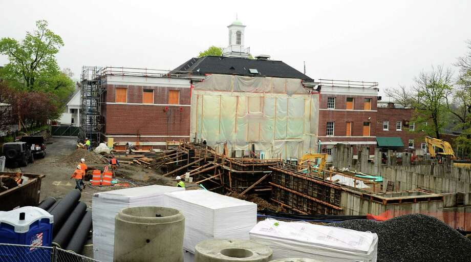 The new Town Hall construction is on budget and on schedule to be complete by spring 2015, Michael Pastore, Director of Public Works in New Canaan, Conn., said Friday, May 9, 2014. Photo: Nelson Oliveira / New Canaan News