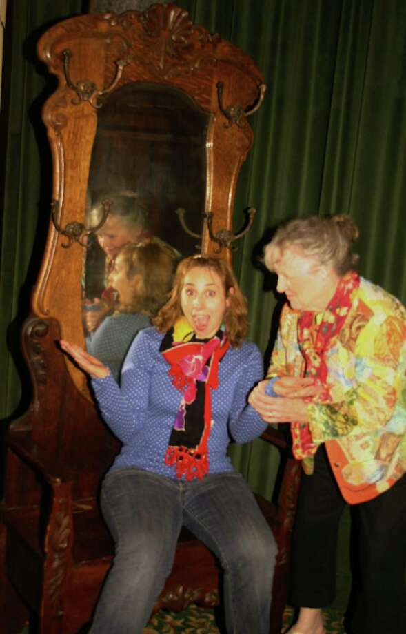 "Michelle Duncan (left) hopes to mediate a war of wills between her friend Olive (Alice McMahon) and the old woman's neighbors in a New York City apartment building in ""Olive and the Bitter Herbs"" which is being produced by Stratford's Square One Theatre starting Friday, May 16. Photo: Contributed Photo, Connecticut Post / Connecticut Post"