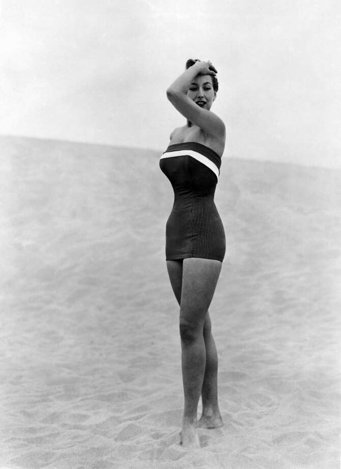 Introducing a new style one-piece swimsuit consisting of a bustier attached to a little skirt, circa 1930s. Photo: Keystone-France, Gamma-Keystone Via Getty Images