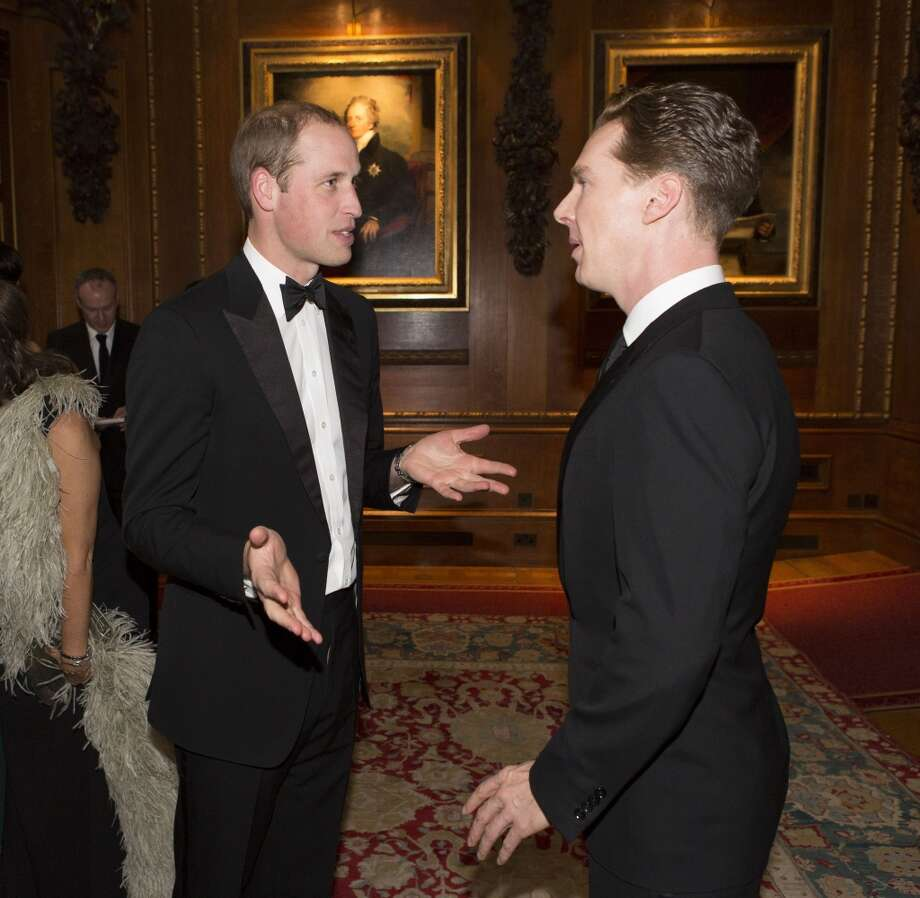 The Duke of Cambridge, left, speaks with Benedict Cumberbatch at a dinner to celebrate the work of The Royal Marsden at Windsor Castle, England, Tuesday evening, May 13, 2014. Photo: Doug Seeburg, Associated Press