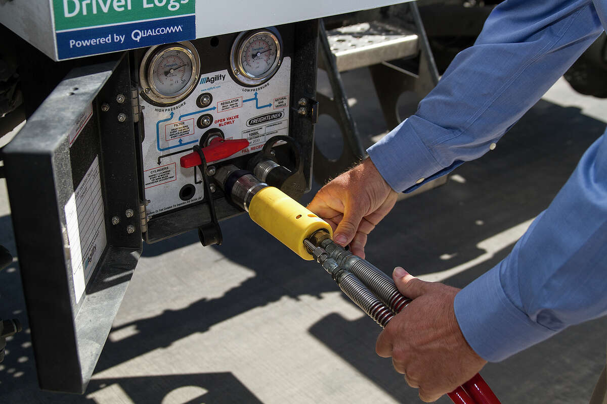 A compressed natural gas (CNG) pump at San Antonio's first public natural gas refueling station, located at Flying J's on Foster Road, Wednesday, May 14, 2014.