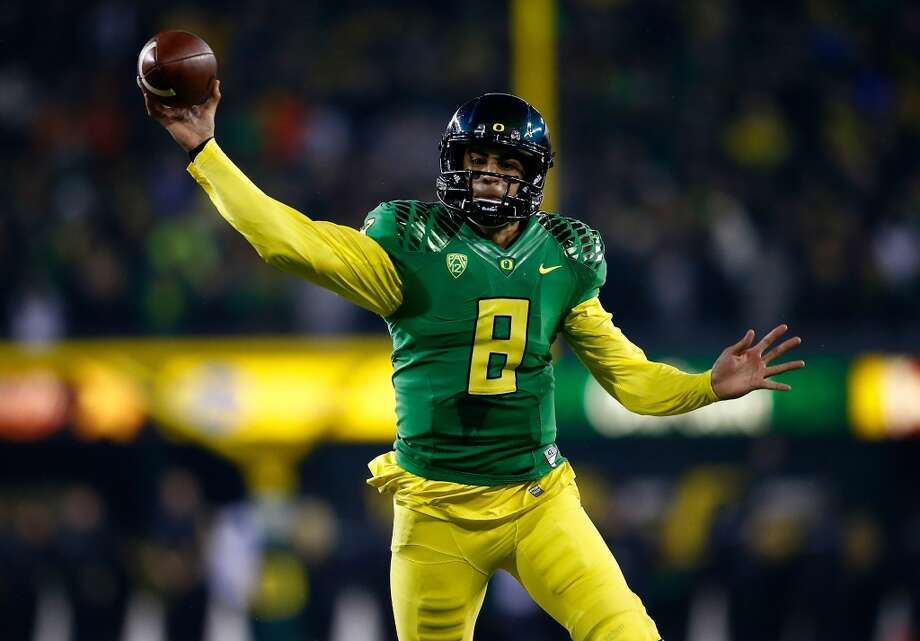 Marcus Mariota, QB, Oregon6-4, 212  2014 classification: Redshirt junior  2013 stats: 3,665 yards passing, 31 TDs, 4 INTs, 715 yards rushing, 9 TDs Photo: Jonathan Ferrey, Getty Images