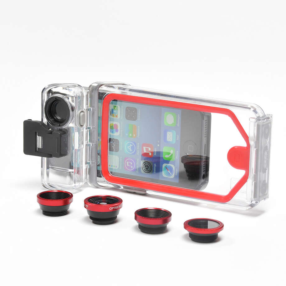 The Optrix PhotoProX includes waterproof housing for the iPhone and comes with four interchangeable lenses. / Optrix