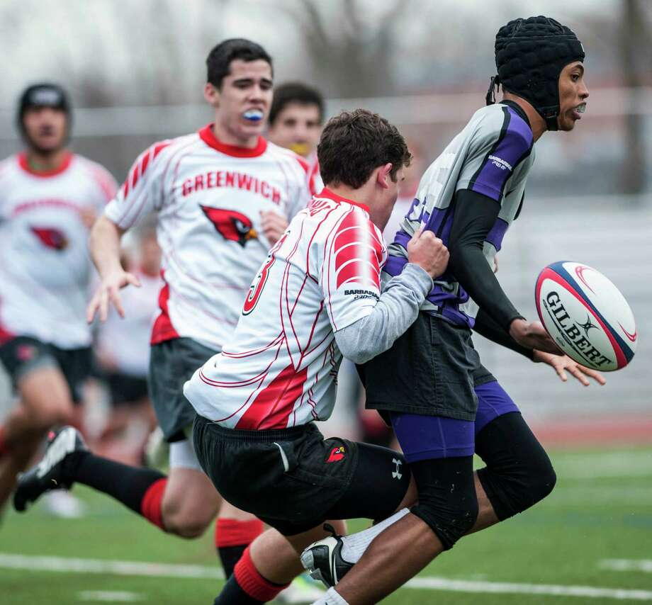 Greenwich high School against New Rochelle high school duing a rugby match played at Greenwich high school, Greenwich, CT on Friday, March, 28th, 2014. Photo: Mark Conrad / Connecticut Post Freelance