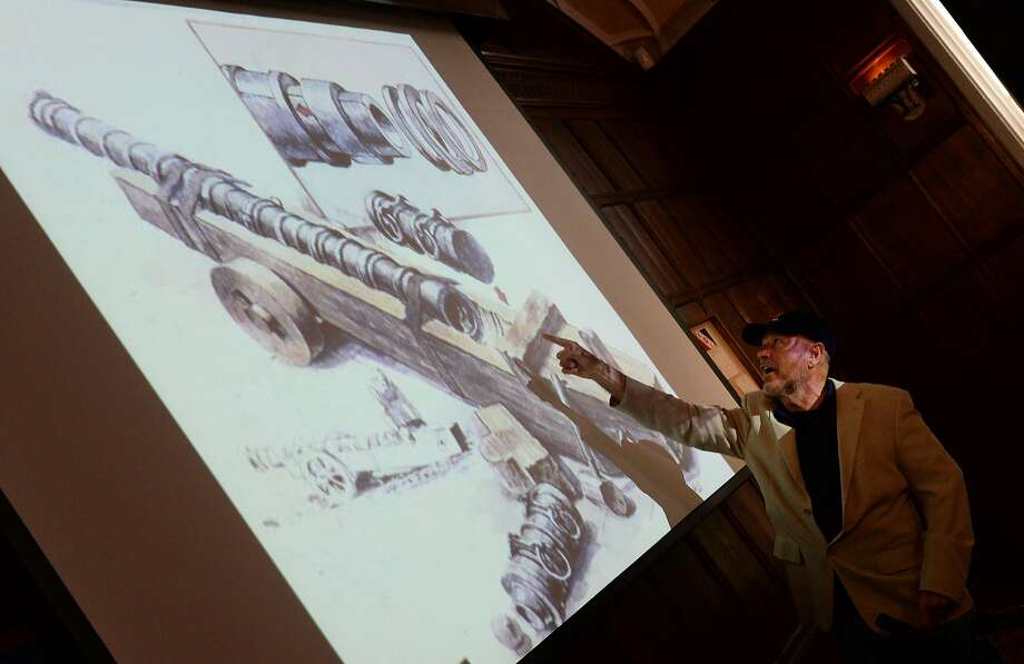 Maritime archaeological investigator Barry Clifford points to a cannon illustration as he talks in New York about Christopher Columbus' flagship, the Santa Maria. Photo: Don Emmert, AFP/Getty Images