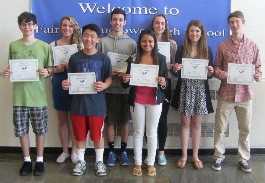 LUDLOWE'S FALCONS OF THE MONTH Fairfield Ludlowe High School has named 11 students as Falcons of the Month for April. Each month, Ludlowe students nominate their peers for displaying a certain characteristic detailed in the school's mission statement. That characteristic for April was setting a goal and achieving it. Displaying the certificates after a ceremony are, from left, John Sabito, Sarah Chapdelaine, Eric Kim, Guilherme Pinto, Jessica Oliveira, Zoe Holderied, Amanda Bow and Brett Dammeyer. Dominika Michalska, Salmeh Sumra and William Moeder also were honored but were absent when the photo was taken. Photo: Fairfield Citizen/Contributed / Fairfield Citizen