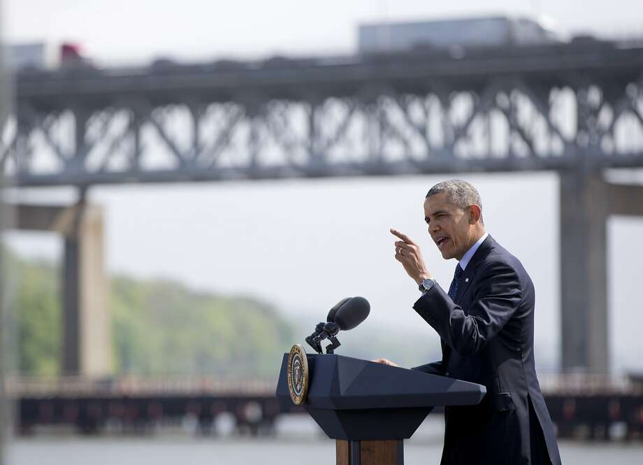 President Obama uses the Tappan Zee Bridge as a backdrop to illustrate the urgency of approving funding for badly needed infrastructure projects. Photo: Associated Press