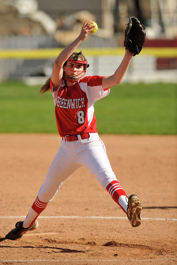 Jessie Schelz was the starting pitcher for Greenwich during the Cardinals' game against Darien at Greenwich High School in Greenwich, Conn., on Monday, May 5, 2014. Darien defeated Greenwich, 6-0. Photo: Jason Rearick / Stamford Advocate
