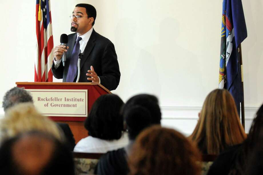 State Education Commissioner John King Jr. speaks on the 60th anniversary of the Supreme Courta€™s decision in Brown vs. Board of Education on Wednesday, May 14, 2014, at the Nelson A. Rockefeller Institute of Government in Albany, N.Y. (Cindy Schultz / Times Union) Photo: Cindy Schultz / 00026880A