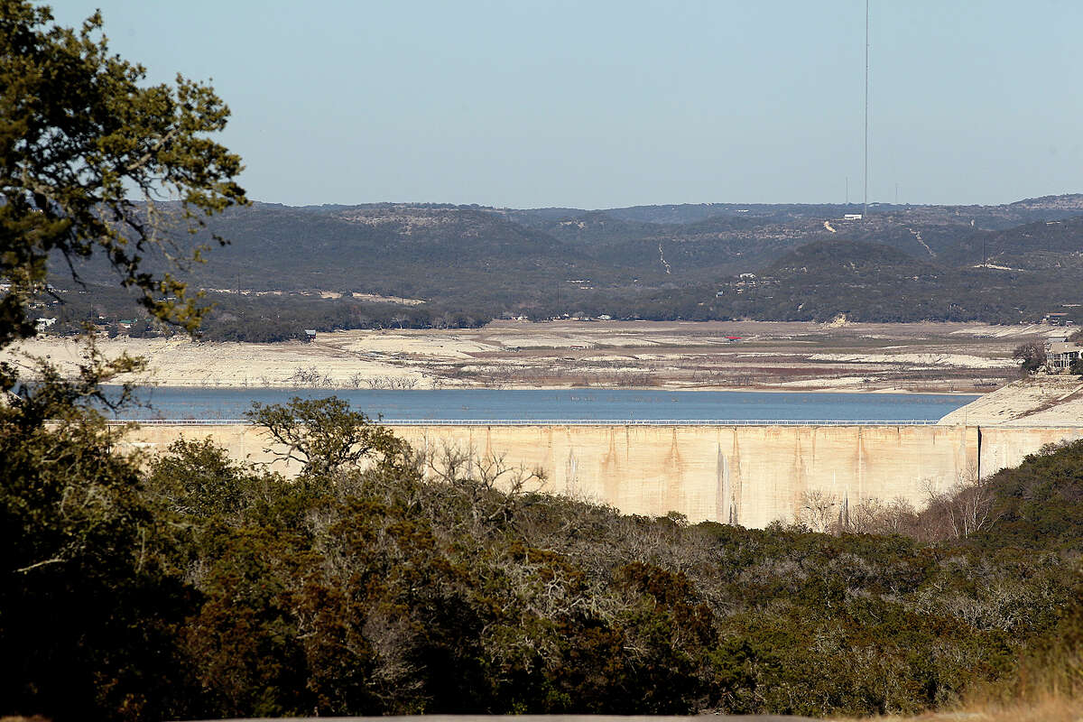 Medina Dam is seen from Old Medina Dam Road south of the dam, Tuesday, Feb. 4, 2014.