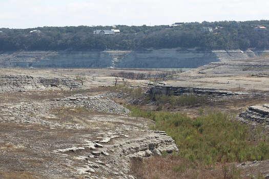 Once covered by Medina Lake, expose bedrock can be seen from Lakehills, Texas, Tuesday, Feb. 4, 2014.  Photo: Jerry Lara, San Antonio Express-News / ©2013 San Antonio Express-News
