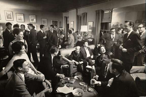 George Plimpton (bottom left) and Truman Capote (sitting far left on couch) at a cocktail party in PlimptonÕs apartment, 1963, as seen in ÒAmerican Masters: Plimpton! Starring George Plimpton as Himself.Ó