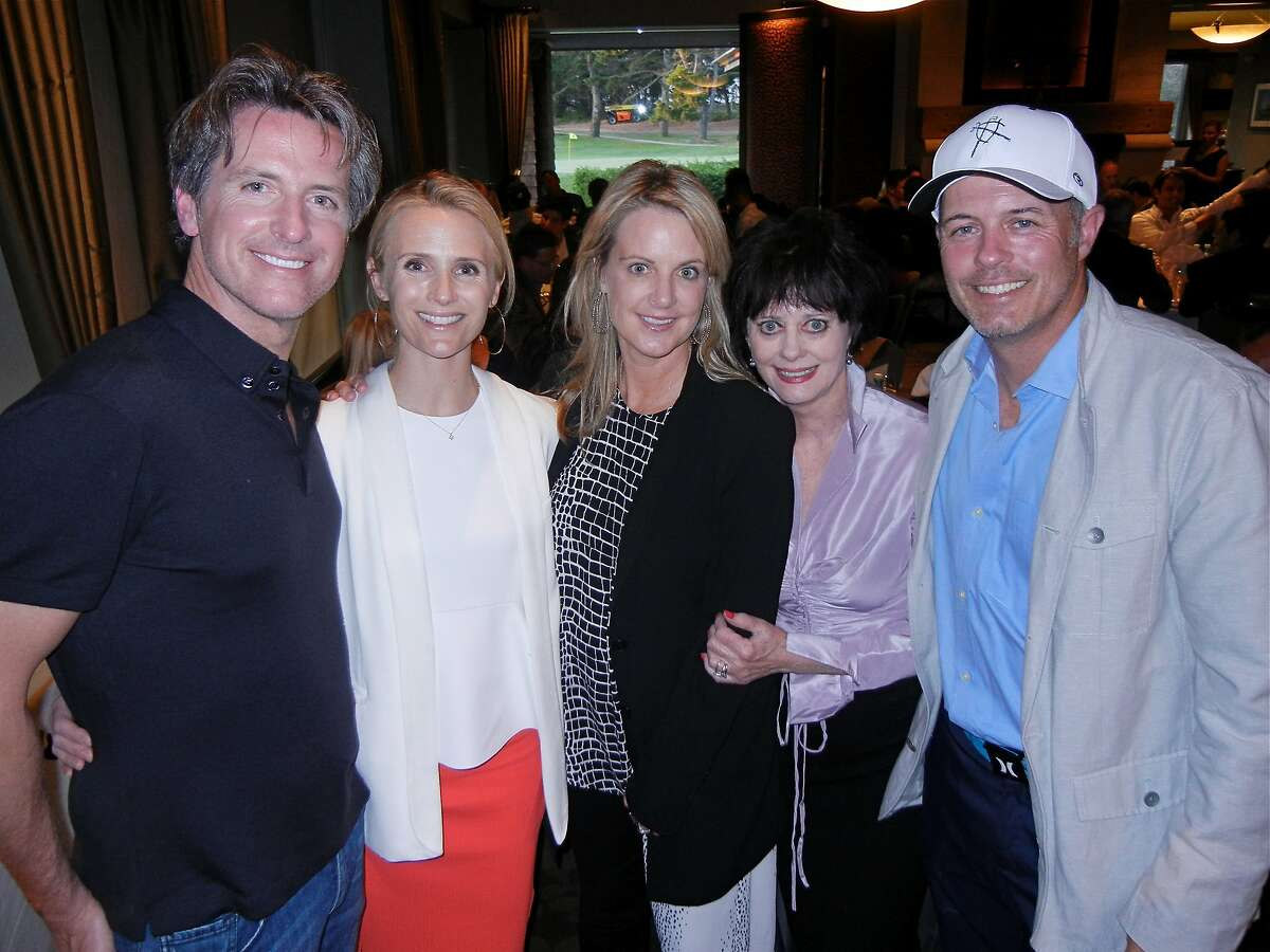 Lt. Gov. Gavin Newsom (left) with his wife, Jennifer Siebel Newsom, sister Hilary Callan, Barbara Callan and Hilary's husband, Geoff Callan, at the PlumpJack/LINK Golf Tournament. May 2014. By Catherine Bigelow.