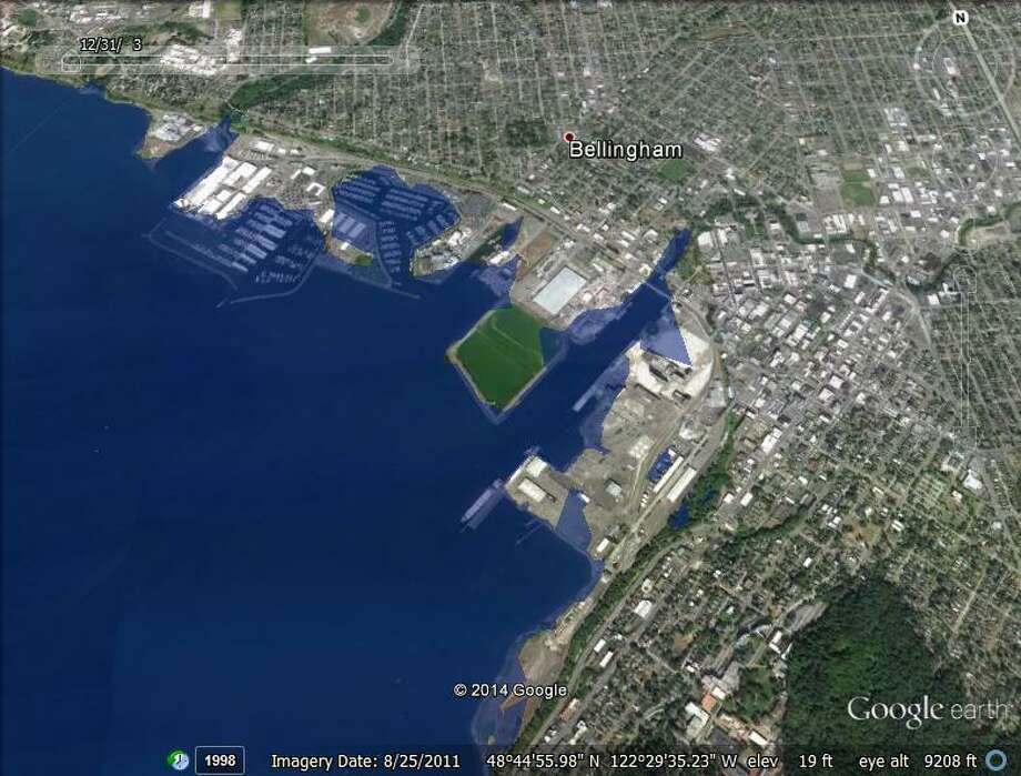 This is what Bellingham would look like if the sea level rose by 13 feet.Images were created in Google Earth by raising the level of the sea.For a better view, click on the icon in the lower right corner of the gallery to expand the photos.