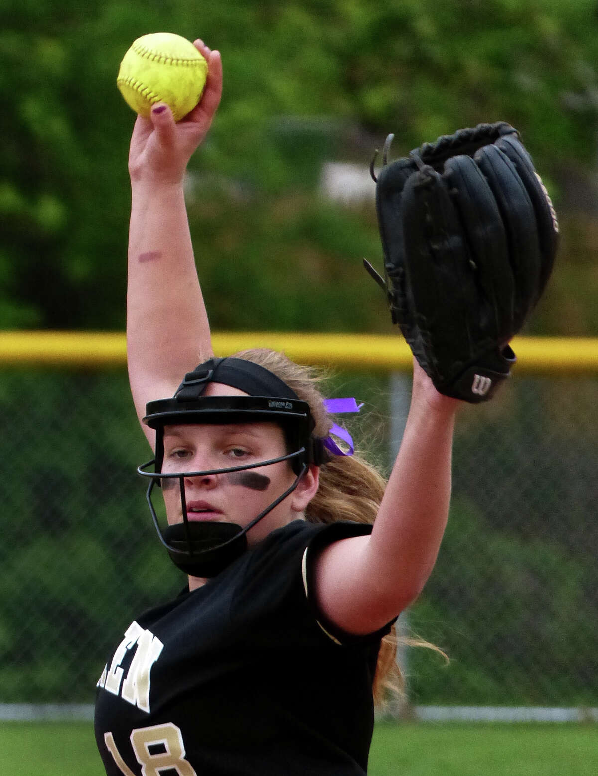 Jonathan Law's pitcherJenna Bernard, during softball action against Foran in Milford, Conn. on Wednesday May 14, 2014. Law went on to beat cross-town rival Foran 4-0 in the eighth inning.