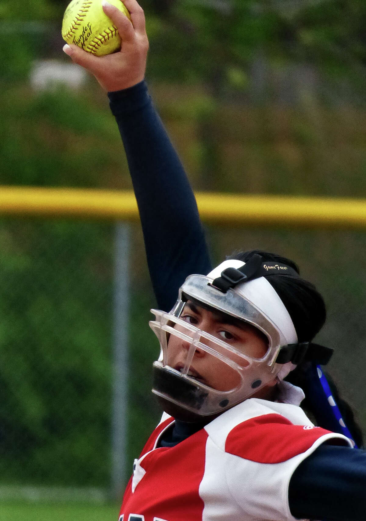 Foran pitcher Ashley Mendillo, during softball action against Jonathan Law in Milford, Conn. on Wednesday May 14, 2014.