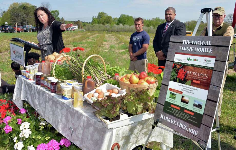 Capital District Community Gardens executive director Amy Klein speaks at a news conference at Buhrmaster Farm to announce the Virtual Veggie Mobile Wednesday, May 14, 2014, in Glenville, NY. The Virtual Veggie Mobile is an online marketplace where local farmers list their produce, meat, dairy products so that daycare centers, hospitals, convenience stores and other institutions can purchase local food. (John Carl D'Annibale / Times Union) Photo: John Carl D'Annibale / 00026879A