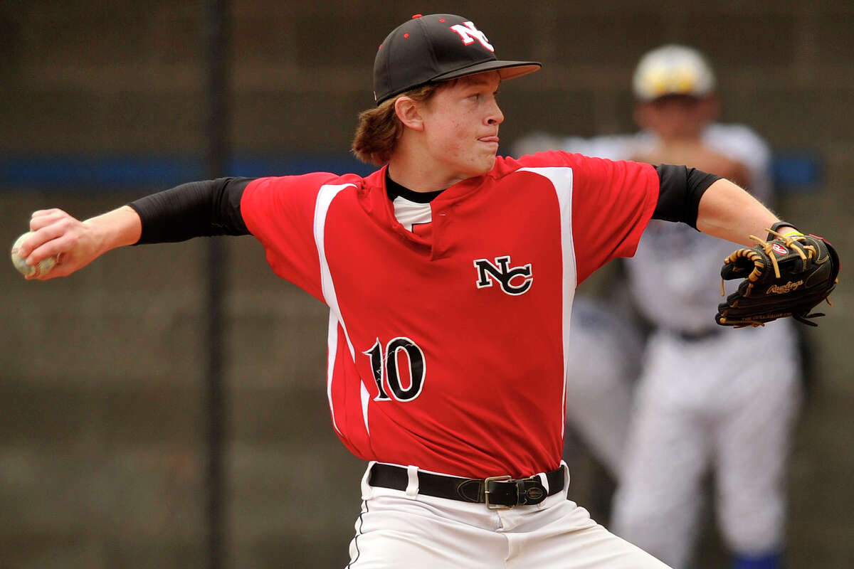 Dan Rajkowski was the starting pitcher for New Canaan during the Rams' baseball game against Darien at Darien High School in Darien, Conn., on Wednesday, May 14, 2014. New Canaan won, 6-2.