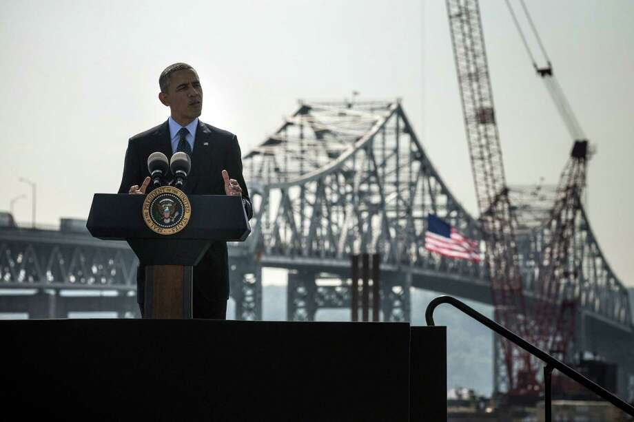 With the aging Tappan Zee bridge and construction for a new bridge as his backdrop, President Barack Obama presses for infrastructure spending in remarks Wednesday at the Washington Irving Boat Club in Tarrytown, N.Y. Photo: Andrew Burton, Staff / 2014 Getty Images