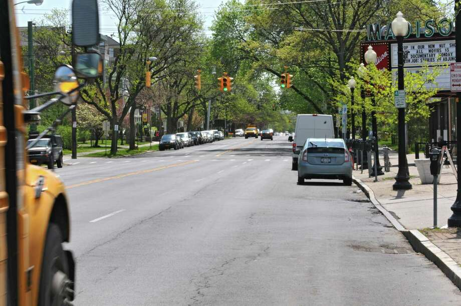 """Madison Avenue between Lark and Allen streets, where the city of Albany is considering a """"road diet"""" that would reduce the number of travel lanes.  (Lori Van Buren / Times Union) Photo: Lori Van Buren / 00026884A"""