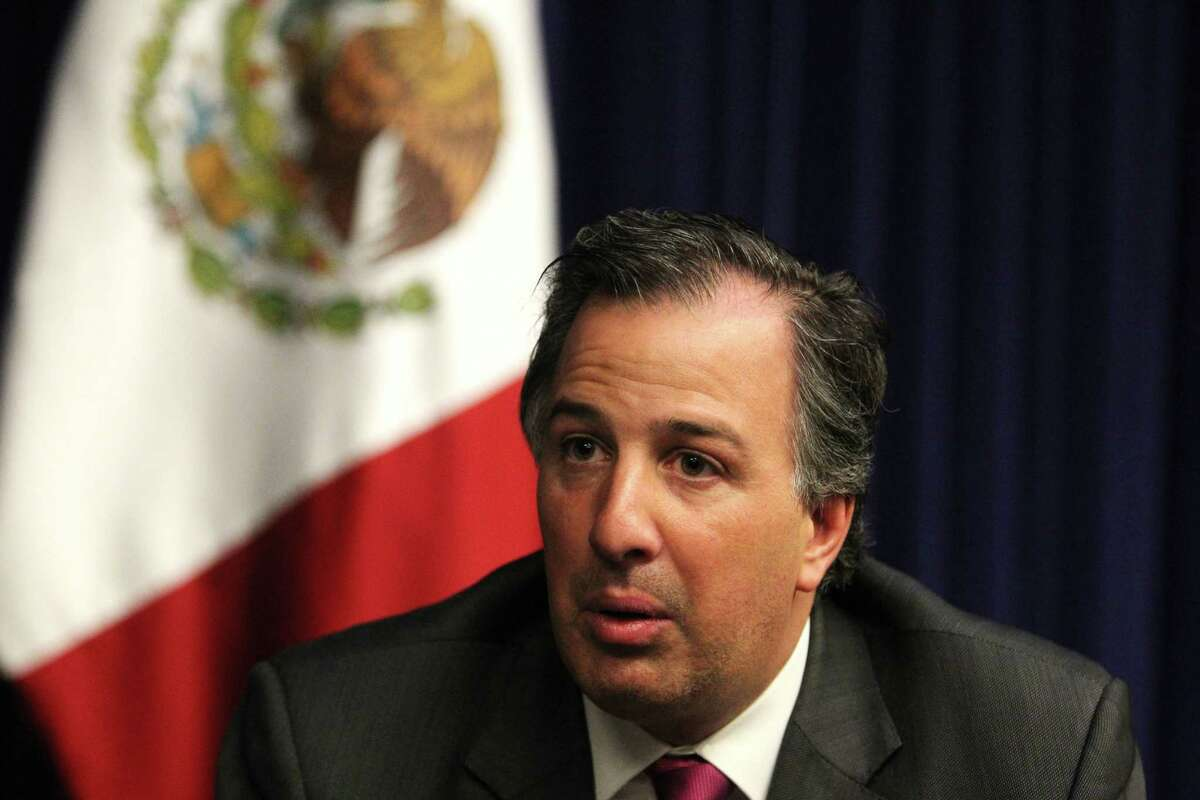 Mr. José Antonio Meade Kuribreé±a, Minister of Foreign Affairs of Mexico at the James A. Baker III Hall at Rice University in Houston, Tx Wednesday May 14, 2014. (Billy Smith II / Houston Chronicle)